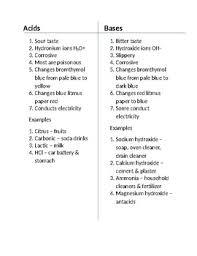 Acids And Bases Chart