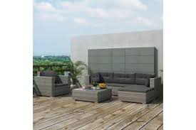 <b>6 Piece Garden Lounge</b> Set with Cushions Poly Rattan Grey - Matt ...