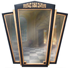 art deco triptych mirror straight edge