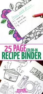 the recipe binder that you can color in recipe book