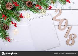 Blank Christmas Background Christmas Background With Blank Sheet Of Paper Top View With Space