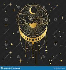 уловитель мечты с луной и солнцем иллюстрация вектора нарисованная