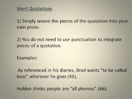 literary analysis integrating quotations most of your essay is  3 short quotations