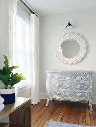blue gray inlay dresser in beachy bedroom