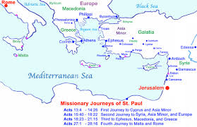 biblical map of st paul s 4 journeys note the magenta ports indicate paul s