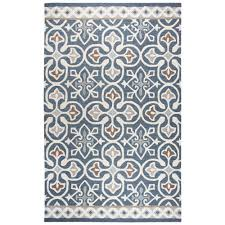 rizzy home ont blue gray medallion hand tufted wool 5 ft x 8 ft