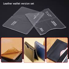 2pcs acrylic clear leather template tool set for wallet leathercraft pattern diy