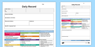 Personal Planner Template Eyfs Daily Diary Retrospective Planning Template