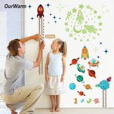 Kids Growth Chart Stick Us 3 99 20 Off Ourwarm Rocket Child Height Measure Wall Stick For Kids Room Nursery Diy Space Height Stickers Growth Chart Home Wall Decoration In