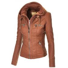 women s brown hooded faux leather jacket