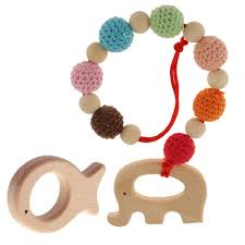 2pcs wood elephant bracelet baby teether fish ring toy diy pacifier magideal