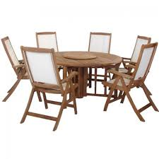 royalcraft henley hardwood round eg garden table with lazy susan and 6 henley recliner chairs
