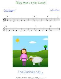 Clarinet Finger Chart Mary Had A Little Lamb Mary Had A Little Lamb For Clarinet Free Sheet Music
