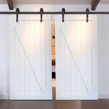 Overlapping Sliding Barn Doors Single Track Bypassc Barn Door Hardware 2 Doors Overlap On 1
