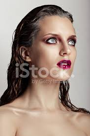 <b>Hot</b> Young <b>Woman</b> Model With <b>Sexy Bright</b> Red Lips Makeup Stock ...