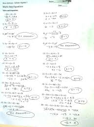 multi step equations a answers algebra one worksheets chapter 4 assignments free grade 8 solving activity