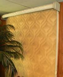 Custom cornices creatively conceal. » Susan's Designs & The height of the door wall was cause for a large diameter roll when the  shade was in the up position. The cornice board depth allows the complete  roll and ... Adamdwight.com