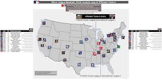 affiliated triplea minor league baseball (milb) locationmap of