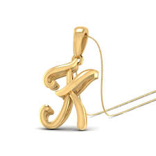 the alphabet k gold pendant by pc jeweller