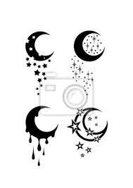 Fototapeta Měsíc A Hvězdy černá A Bílá Tribal Tattoo