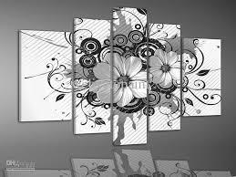 framed 5 panels high end black and white wall decor flower oil in art remodel 17 on black white wall art deco with framed 5 panels high end black and white wall decor flower oil in
