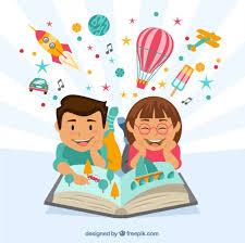 happy children reading a imaginative book free vector