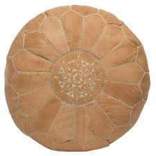 Embroidered Leather Pouf