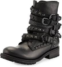 ash rebel studded strap leather moto boot blackpavonado