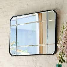 beveled black frame wall mirror