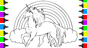 Unicorn Rainbow Coloring Pages How To Draw A Unicorn And Rainbow Coloring Pages For Kids Learn