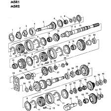 ford m5r1 and m5r2 manual transmission parts illustration ford m5r1 and m5r2 5 speed parts schematic