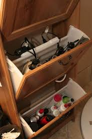 use an ikea shoe cabinet to your curling irons hair dryer and power strip