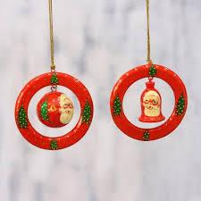 papier mache christmas ornaments pair