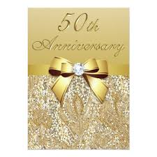 bling invitations & announcements zazzle co uk Zazzle Bling Wedding Invitations 50th gold wedding anniversary faux sequins and bow card Elegant Wedding Invitations