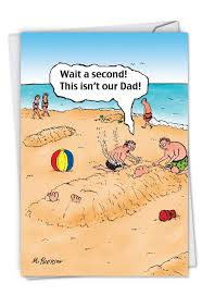 Sand Card Sand Dad Cartoons Fathers Day Greeting Card By John Mcpherson