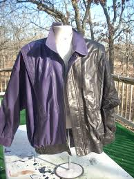 here s a jacket that s in transition we do color changes as well as re dyes of the same color this example was being changed from purple or aborigine to