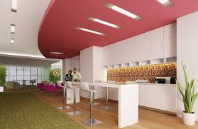 office kitchen designs. Kitchen : Wonderful Corporate Modern Offices Design Using White Long Island Table And Cabinet Also Purple Soft Coffee Break Chair Office Designs