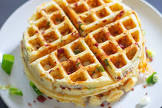 cheese and bacon waffles