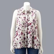 Plus Size Simply Vera Vera Wang Sleeveless Flounce Blouse In