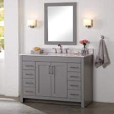 Home Decorators Collection Westcourt 48 In W X 21 In D X 34 In H Bath Vanity Cabinet Only In Sterling Gray Wt48 St The Home Depot