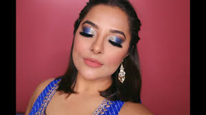blue glitter smokey eyes makeup indian wedding guest makeup tutorial anubha