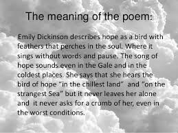 emily dickinson hope is the thing feathers 3 the meaning of the poem emily dickinson