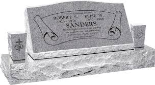 Design My Own Headstone 36 X 10 X 16 Serp Top Slant Headstone Polished Front And Back With 52 Base And Two Square Tapered Vases