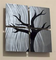 tree scene metal wall art: ventura ocean scene with tree metal wall art stainless steel