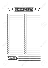 Template For Shopping List Shopping List Vector Template For Agenda Planner And Other