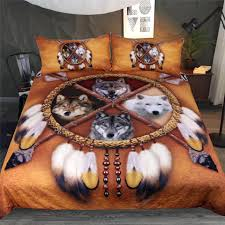 blessliving wolves dreamcatcher bedding set native american indian wolf duvet cover western wild animal tribal 3d bed cover camouflage bedding coverlets