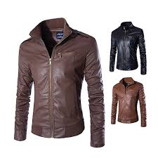 new men s leather jacket european and american leather jacket trend collar leather jacket brown