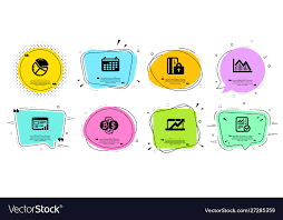 Calendar Pie Chart And Investment Graph Icons Set