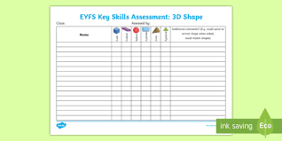skills tracking sheet eyfs key skills assessment 3d shape assessment tracker space and