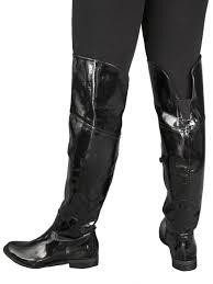 black patent flat over knee boots